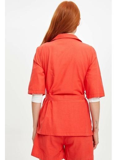DeFacto Kemerli Relax Fit Blazer Ceket Kırmızı